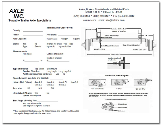 Rubber Torsion Axle Ordering Form - Axle Inc. Elkhart